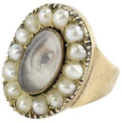1870s Miniature of Male Lover's Eye Gold Ring