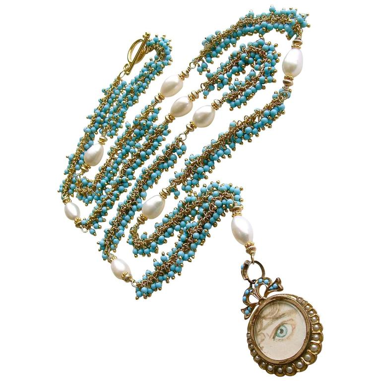 Lover's Eye Victorian Locket Turquoise Pearls Gold Necklace For Sale