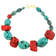 Single Strand Large Chunk Turquoise, Coral and Chrysocolla Necklace
