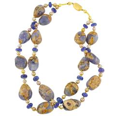 Chalcedony Tanzanites Gold Double Strand Necklace