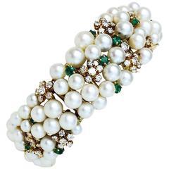 Mid-Century Pearl Emerald Diamond Gold Cuff Bracelet