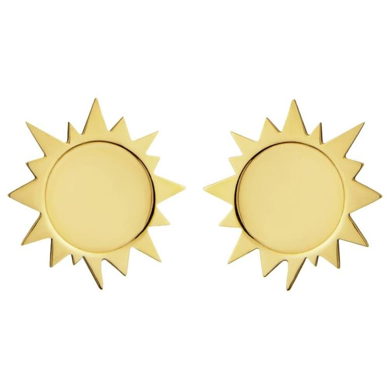 Gold Vermeil Sterling Silver Sun Earrings 1