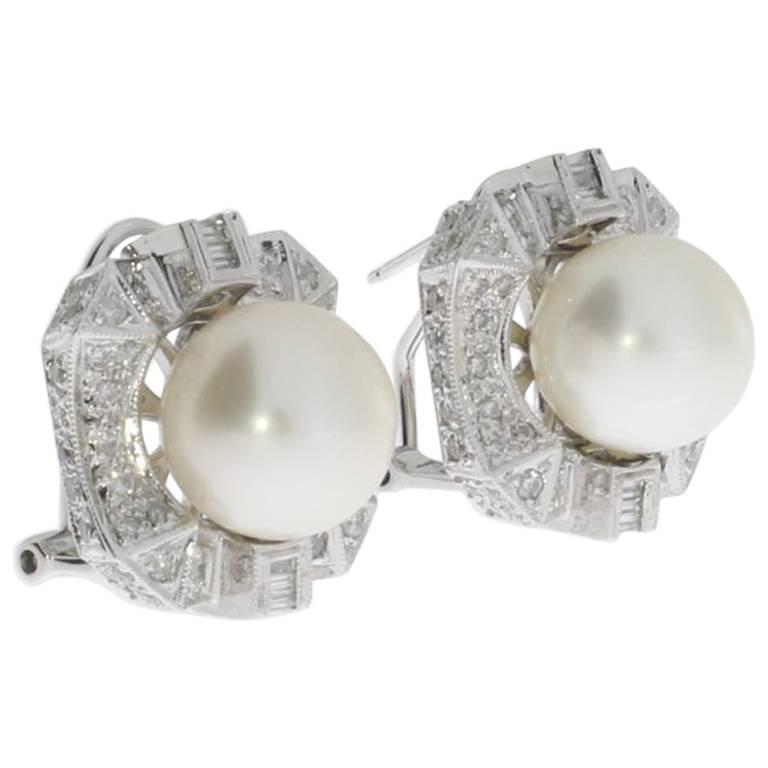 South Sea Pearl and Diamond Gold Stud Earrings