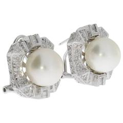 South Sea Pearl and Diamond Gold Stud Earrings