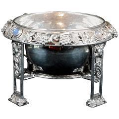 A Moonstone Set Silver Bowl By Omar Ramsden & Alwyn Carr 1912