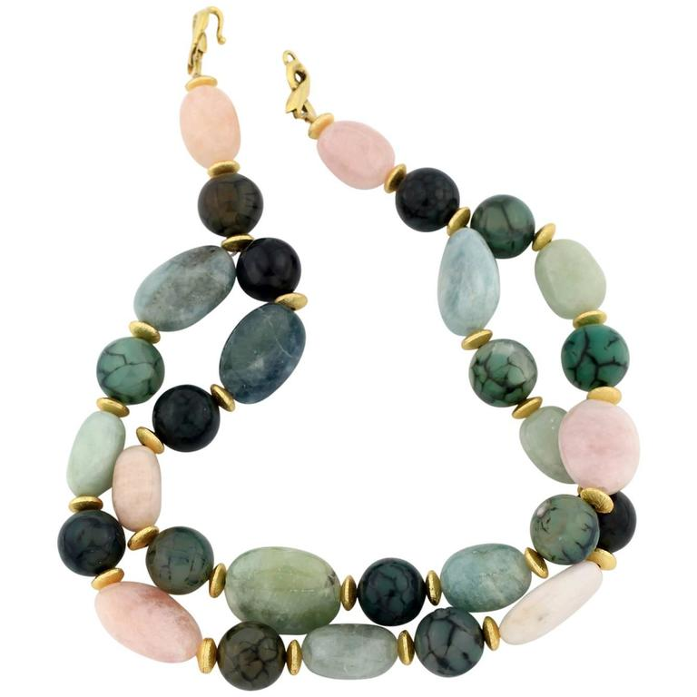 Double Strand Multi-Color Polished Beryls and Spider Web Jasper Necklace