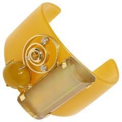 Citrine yellow sapphire Botswana agate diamond gold Bakelite cuff bracelet