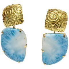 Larimar Gold Petroglyph Earrings