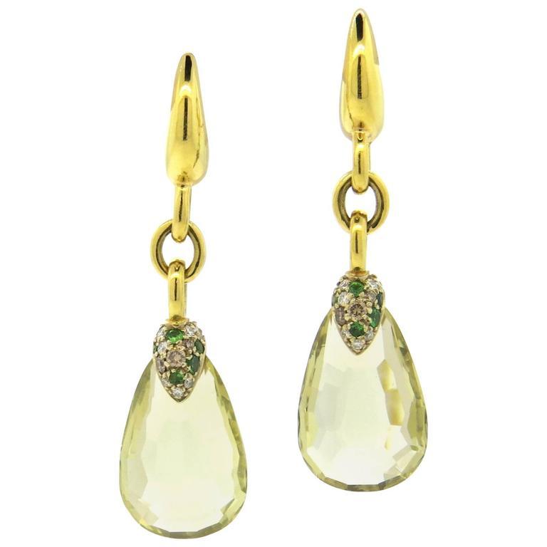 Pomellato Pin Up Lemon Citrine Tsavorite Diamond Gold Earrings