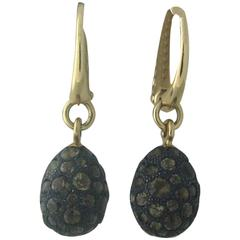 Pomellato Tabou Smokey Topaz Burnished Silver Gold Drop Earrings