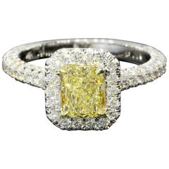 GIA Certified Canary Yellow Radiant Diamond Gold Halo Engagement Ring