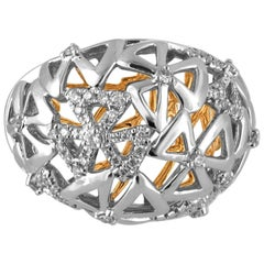 0.35 Carats Abstract Diamond Dome Gold Cocktail Ring