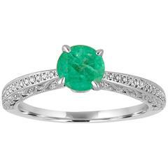 0.72 Carats Emerald Diamond Gold Milgrain Ring