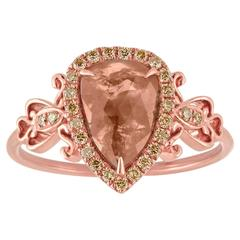 0.95 Carats Pear Shape Diamond Slice Rose Gold Ring
