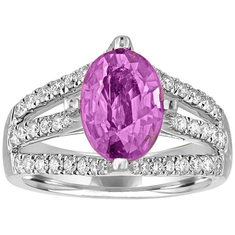 AGL Certified No Heat 2.86 Carat Oval Purple Pink Sapphire Diamond Gold Ring