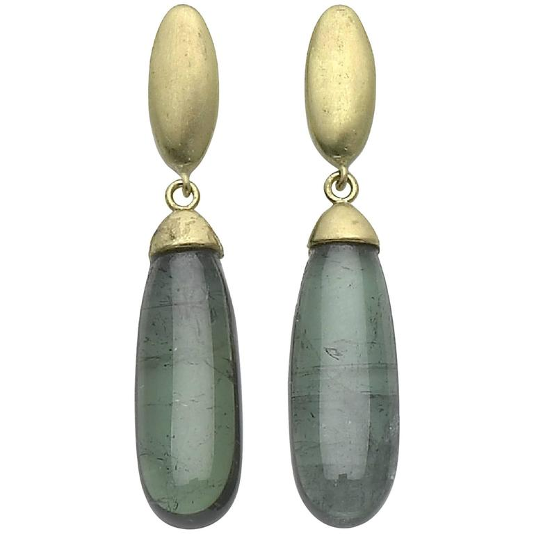 Green Tourmaline Gold Pebble Drop Earrings