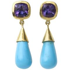 Amethyst Turquoise Gold Drop Earrings