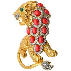1960s Kenneth Jay Lane Coral Emerald Diamond Gold Lion Brooch