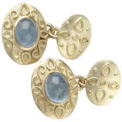 Aquamarine Gold Cufflinks