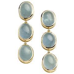 Aquamarine Gold Drop Earrings