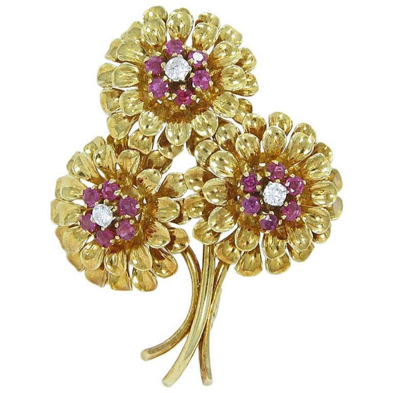 Tiffany & Co. Ruby Diamond Gold Flower Pin