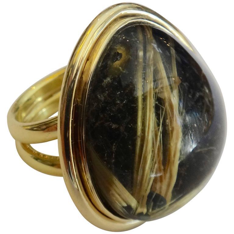 45.80 Carat Rutilated Quartz Gold Ring 1