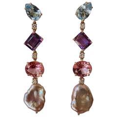 Blue and Pink Topaz Amethyst Keshi Pearl Diamond Drop Earrings