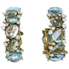 Pomellato Lulu Blue Topaz Diamond Gold Hoop Earrings