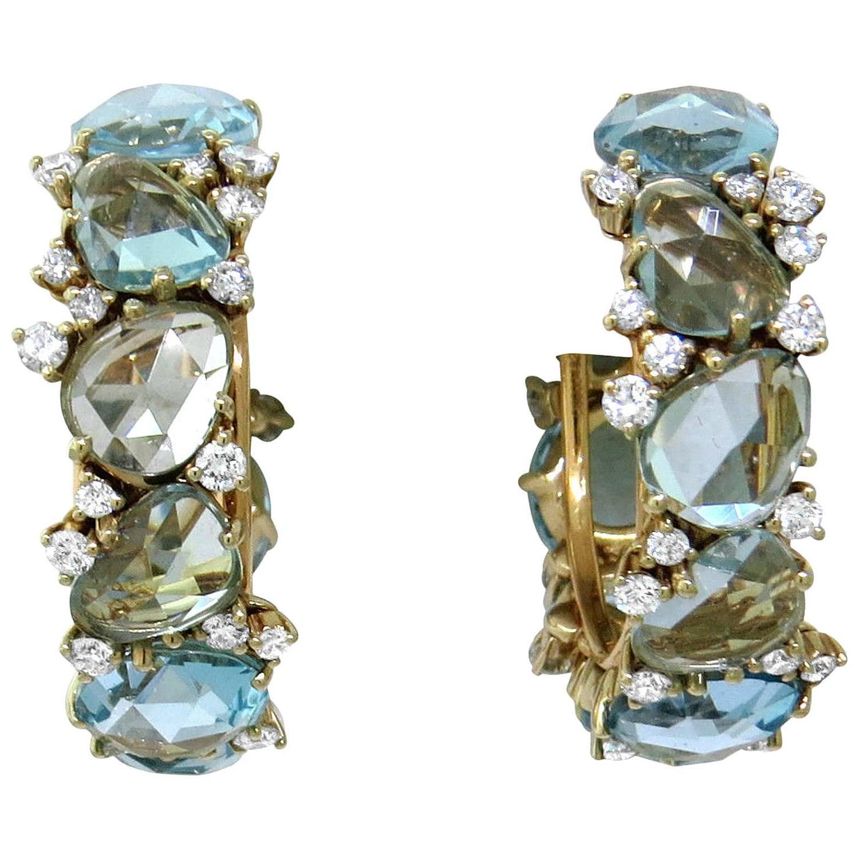 Pomellato Lulu Blue Topaz Diamond Gold Hoop Earrings For Sale at
