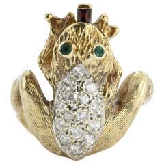 Whimsical Garnet Diamond Gold Frog Ring