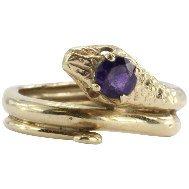 Amethyst Gold Figural Gothic Curled Coiled Snake Ring 1