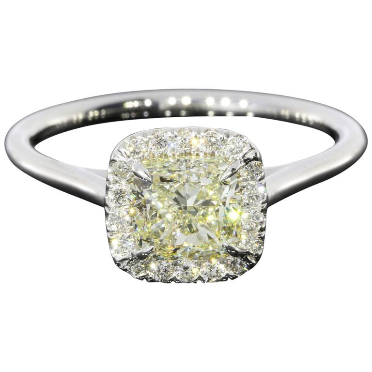 White Gold Square Cushion Diamond Halo Engagement Ring For Sale at 1stdibs