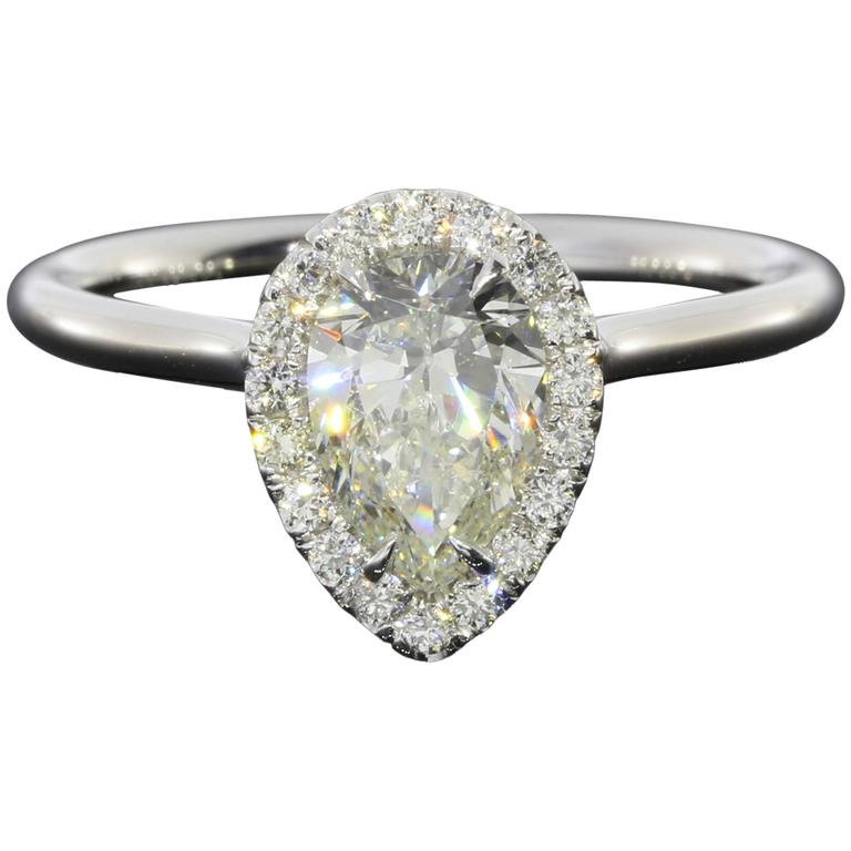 1 07 Carat GIA Cert Pear Diamond Gold Halo Engagement Ring at 1stdibs