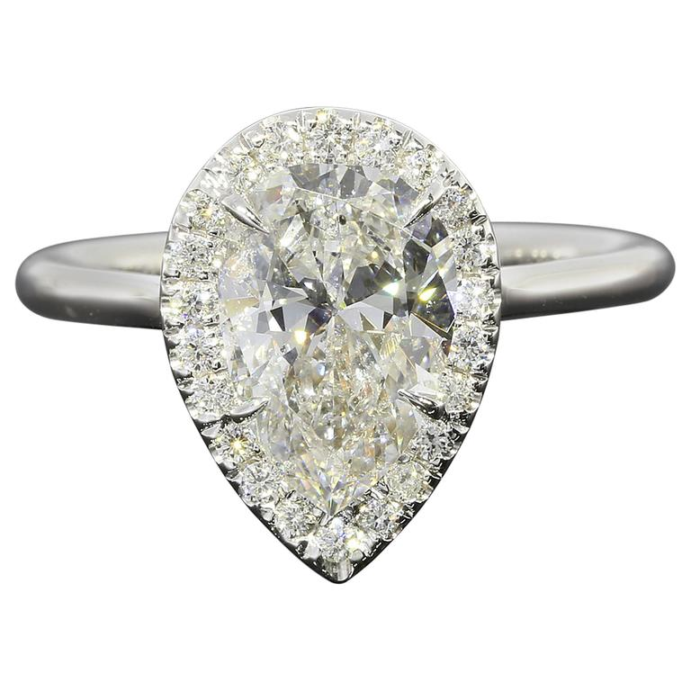 White Gold Certified Pear Brilliant Diamond Halo Engagement Ring