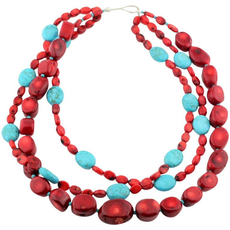 Artisan Statement Coral and Turquoise Triple Strand Necklace For Sale