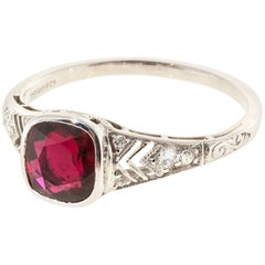 Tiffany & Co. Ruby Diamond Platinum Engagement Ring