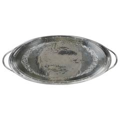 Silver Oval Tray with Loop Handles By Omar Ramsden circa 1930