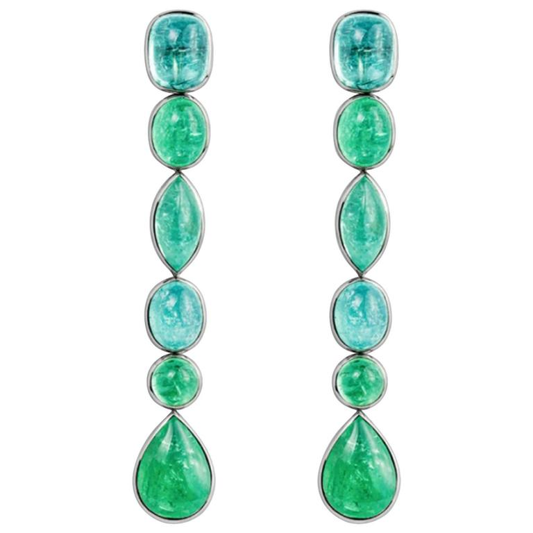Colleen B. Rosenblat African Paraiba Tourmaline Gold Drop Earrings  For Sale