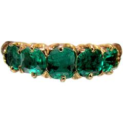 Antique Five Stone Emerald Gold Ring