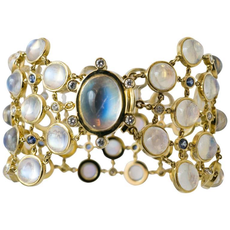 Temple St. Clair Aquamarine Sapphire Diamond Gold Bracelet