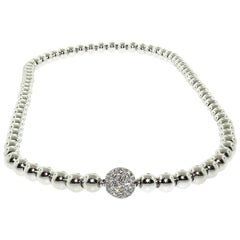 Gold Necklace with Diamond Pave Center