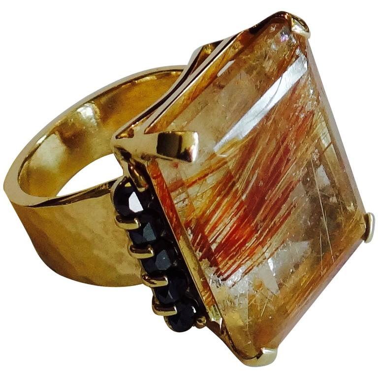 Michael Kneebone Rutilated Quartz Black Diamond Hammered Gold Ring