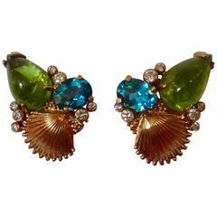 Michael Kneebone Peridot Blue Topaz Diamond Gold Shell Earrings