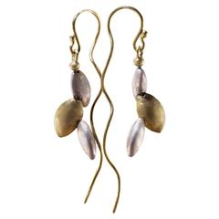 Beautifully Textured Sterling Silver Gold Dangle Earrings