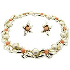 1990s Tiffany & Co. Sterling Gold Pearl Coral Necklace and Earrings Set