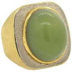 Modernist Burle Marx Green Gemstone Gold Cabochon Ring