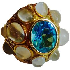 Blue Topaz Cat's Eye Moonstone Diamond Gold Ring