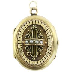 Victorian Antique Seed Pearl Gold Locket
