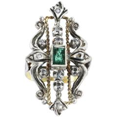 19th Century Victorian Emerald & Rose Cut Diamond Ring