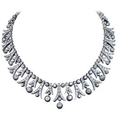 1900s 42 Carats Diamonds Fringe Necklace